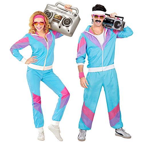 Widmann 98875 - Kostüm 80er Jahre Trainingsanzug, Jacke und Hose, angenehmer Tragekomfort, Assi Anzug, Proll Anzug, Retro Style, Bad Taste Party, 80ties, Karneval Mehrfarbig M