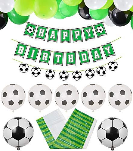 PIXHOTUL Fußball Party Zubehör Fußball Happy Birthday Banner und 47 Stück Fußball Thema Luftballons für Kinder, Jungen, Fußballfan-Geburtstagsfeier
