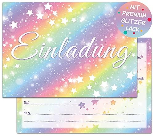 Regenbogen Einladungskarten Geburtstag   12 Glitzer Geburtstagseinladungen   Kindergeburtstag Einladungen für Mädchen   Kinder Partyeinladungen