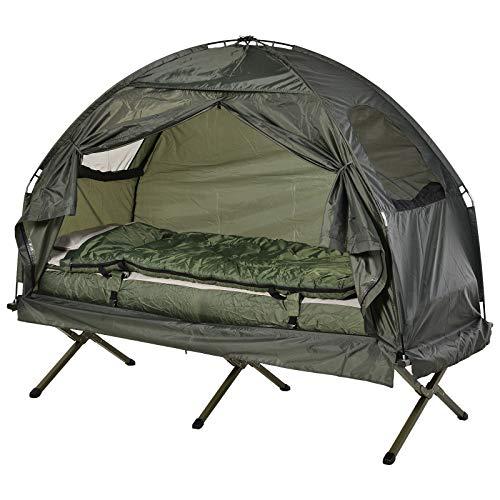 Outsunny Feldbett 4 in 1 Camping Set mit Zelt Schlafsack Matratze faltbar, Dunkelgrün