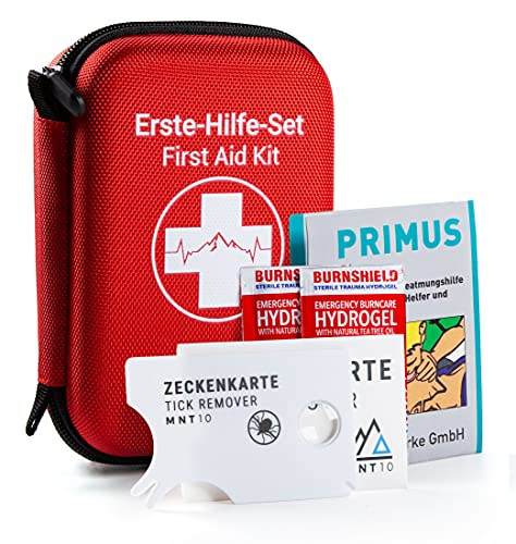 MNT10 Notfall Erste Hilfe Set Outdoor I Inhalt aus Deutschland nach DIN 13167   First Aid Kit + Zeckenkarte + Beatmungshilfe I Mini Erste Hilfe Set für Kinder, Fahrrad, Wandern oder als Reiseapotheke