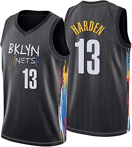 Brooklyn Nets # 13 James Harden Jersey, Atmungsaktive Verschleißfeste Gestickte Mesh Basketball Swingman-Trikots,Schwarz,XL:180~185cm