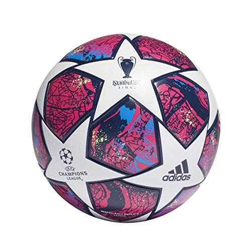 adidas Men's FIN IST LGE Soccer Ball, top:White/Pantone/Glory Blue/Dark Blue Bottom:Signal Green s20, 5