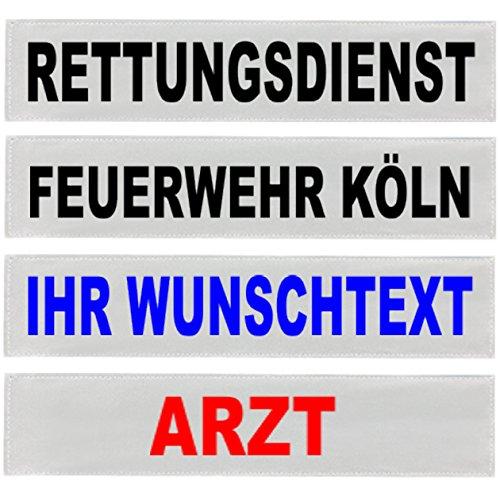 PACO Deutschland e.K. Reflexschild Rückenschild silber reflektierend mit Wunschtext 38x8cm, 42x8cm, 30x5cm Wunschtext individuell wie RETTUNGSDIENST FEUERWEHR NOTARZT etc. (38x8cm)