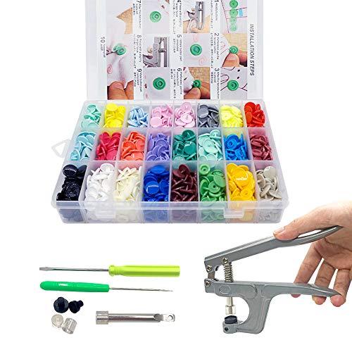 SUNTATOP T5 Druckknöpfe 24 Farben + Snaps Zange(T3, T5, T8) für alle Arten DIY Kleidung Basteln