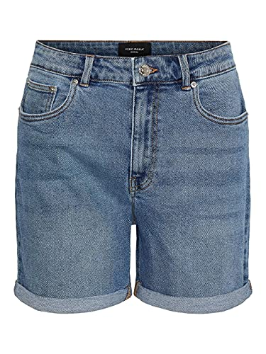 VERO MODA Female Shorts High Waist Mom Slight Blue Denim