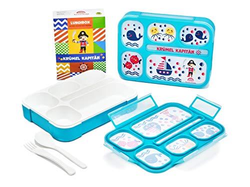 Bananabridge Kinder Lunchbox Krümel Kapitän mit 5 Fächern Brotdose robust BPA frei Frühstücksbox Bentobox Pirat Freizeit Picknick