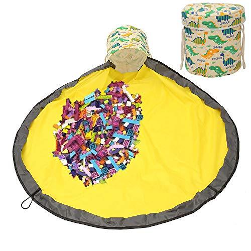 Kinder Aufräumsack mit Drawstring Spielzeug Aufbewahrungsbox mit Deckel Tragegriff, Baby Spieldecke Kinderspielzeug Aufbewahrungsbeutel für Kinderzimmer Outdoor Picknick (Grün)
