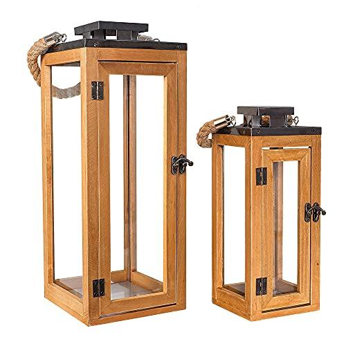 Gadgy Holzlaternen | Set 2 Windlicht Glas | Laterne Groß | Kerzenständer Holz | Haustür Deko | Holzdeko | Windlichter Glas Set | Maritime Geschenke | Kerzenhalter Holz | Windlicht Haus
