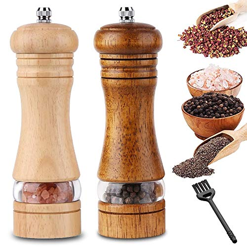 InFreesh 2 Stück Pfeffermühle Holz, Keramikmahlwerk mit Salz- und Pfeffer Mühle, Gewürzmühle mit Reinigungsbürste(16,5cm)