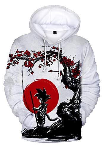 HUASON Jungen Mädchen Kinder 3D Hoodie Bunt Neuheit Kapuzenpullover Pullover mit Goku Vegeta Saiyan(M)