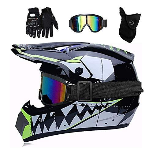 ZHUOYU Motocross Helmet,Motorrad Crosshelm Set,Downhill Enduro Helm Integralhelm,Jugend Kinder Dirt Bike Helme,Haifischform,DOT Zertifizierung,ATV/MTB/MX,Brille/Handschuhen/Maske (S (52-53 cm),C)