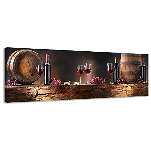 Panorama Leinwand Holz Wein Leinwand Wand Art Leinwandbild Still Life - 118x36cm