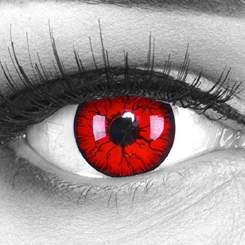 Meralens 1 Paar farbige rote schwarze Crazy Fun Metatron Jahres Kontaktlinsen.Topqualität zu Halloween Fasching und Karneval mit gratis Kontaktlinsenbehälter ohne Stärke weich 12 Monatslinsen in rot
