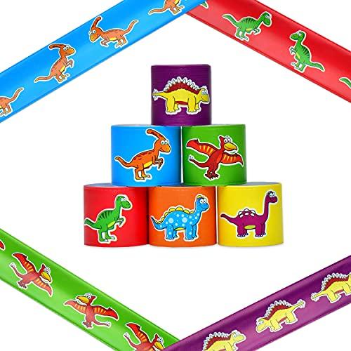 L + H WORLD 24x Klatscharmband Dino im Set | Schnapparmband für Kinder in Premium Qualität | Schnapparmbänder Dinosaurier ideal als Mitgebsel Mitbringsel Gastgeschenk zum Kindergeburtstag für Jungs