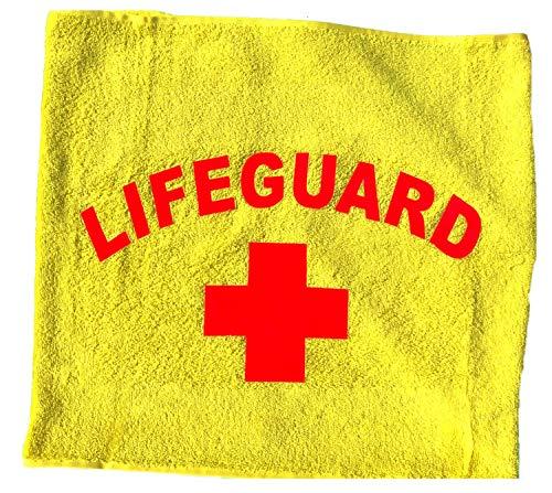 Coole-Fun-T-Shirts Handtuch Lifeguard Rettungsschwimmer Strand Schwimmbad Baggersee Badetuch Strandlaken für 70x140 cm (gelb)