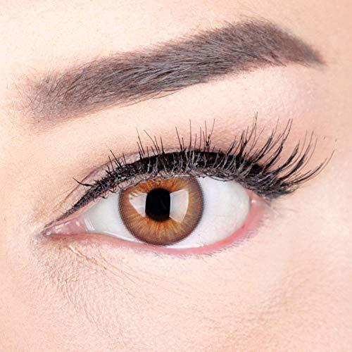 Sehr stark deckende und natürliche Braune Kontaktlinsen SILIKON COMFORT NEUHEIT farbig 'Elly Hazel' + Behälter von GLAMLENS - 1 Paar (2 Stück) - DIA 14 mm - ohne Stärke 0.00