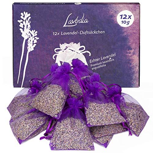 12x Lavendelsäckchen mit Premium Lavendelblüten von Lavodia, zum Mottenschutz gegen Motten im Kleiderschrank oder als Lavendel Duftsäckchen zum Entspannen und Schlafen, 12 Lavendel Säckchen