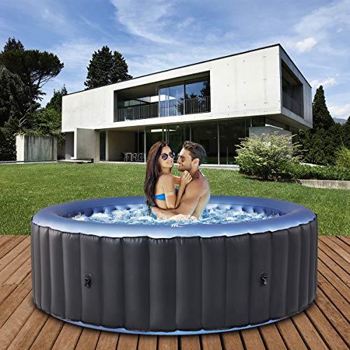 Miweba MSpa aufblasbarer Whirlpool 2021 Comfort Bergen C-BE061 - für 6 Personen - 138 Luftdüsen - 204.0 x 204.0 x 70.0 cm - Pool aufblasbar (Anthrazit/Blau)