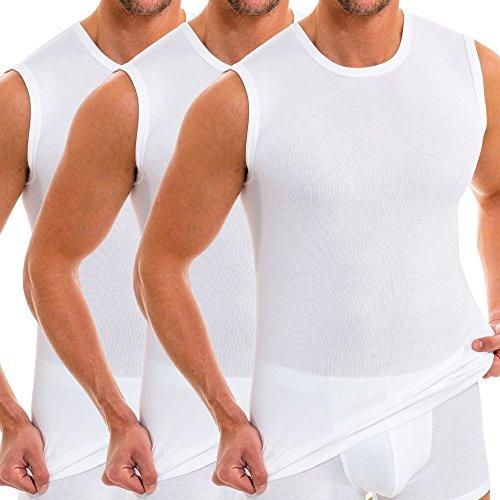 HERMKO 3040 3er Pack Herren Tank Top Unterhemd mit Rundhals-Ausschnitt aus 100% Bio-Baumwolle, Größe:D 7 = EU XL, Farbe:weiß