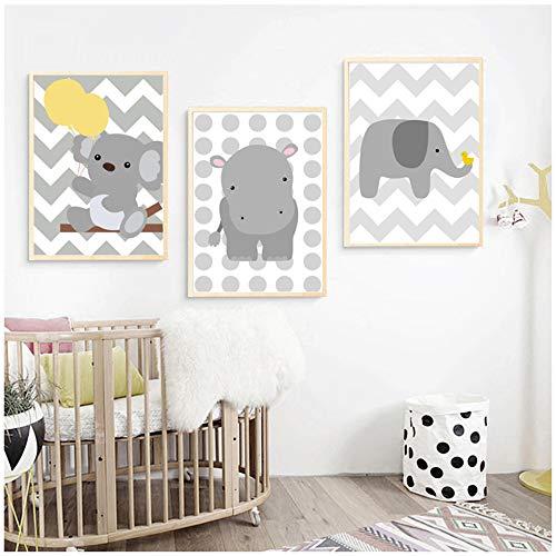 NIEMENGZHEN Druck auf Leinwand Cartoon Baby Bär Elefant Hippo Wandkunst Leinwand Malerei Poster Und Drucke Animal-50x70cm Kein Rahmen