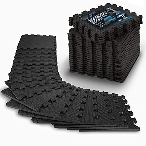 Veluris Bodenschutzmatte Fitness [31x31cm] - 18 extra Dicke Bodenmatten [20% mehr Schutz] - rutschfeste Schutzmatten für Fitnessraum&Fitnessgerät