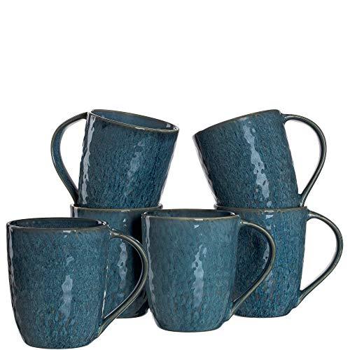 Leonardo Matera Keramik-Tassen 6-er Set, spülmaschinengeeignete Kaffee-Tassen, 6 mikrowellenfeste Tee-Tassen, Becher mit Glasur, blau 430 ml, 018548