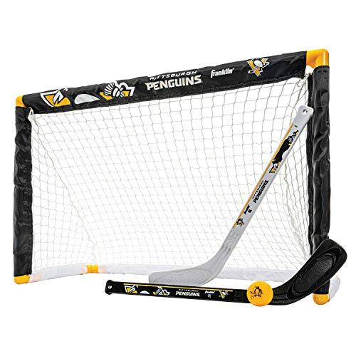 Franklin Sports NHL Team Lizenzprodukt Knie-Hockey-Set–inkl. 2Mini Hockey Sticks und One Schaum Mini Hockey Ball, Unisex, Pittsburgh Penguins