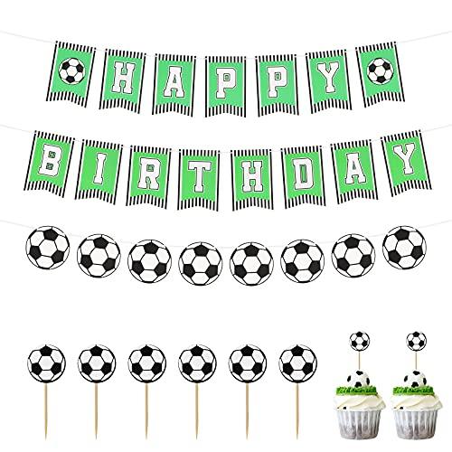 CINVEED Fussball Geburtstagdeko Set 3 TLG Fußball Banner Geburtstag Girlande mit Cake Topper Fußballthema Party für Jungen Geburtstagsfeier Dekoration Weltmeisterschaft Karneval