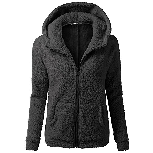 iHENGH Damen Mantel Top,Women Herbst Kapuzenpullover Fell Winter Warme Wolle Jacke ReißVerschluss Baumwollmantel Outwear Strickjacke Coat (EU-38/CN-L,Schwarz)