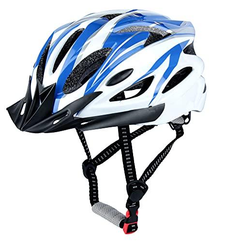 LUCKATCH Erwachsene Fahrradhelm, Mountainbike Helm, Rennradhelme mit Abnehmbarem Visier und Polsterung, Leichter Fahrradhelm mit Kinnschutz Für Männer Damen (56-60cm) (Blau und Weiß)
