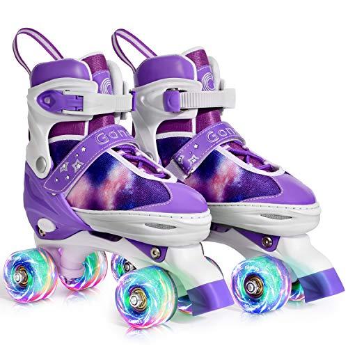 Gonex Verstellbar Rollschuhe für Kinder,mit Leuchtenden Rädern Roller Skates Bequem und atmungsaktiv Quad Skates für Mädchen,Anfänger (Größe 35-38)