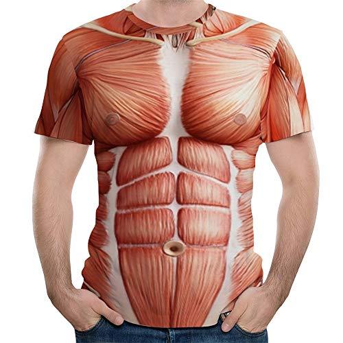 Herren 3D Muscle Druckten T-Shirt Oversize Kurzarmshirt Rundhalsausschnitt Hemd Sommer Lässige Tops Casual O-Neck Jogging Sweatshirt Slim Fit Funktionsshirt Modern Sportshirt