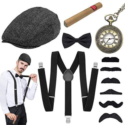 WEARXI 20er Jahre Herren Accessoires - Gatsby Kostüme Herren Hosenträger Herren Mafia Kostüm Set, Gangster Hut, Halsschleife Taschenuhr, Schnurrbart & Spielzeug Zigarre Ideal Kostüme für Partys