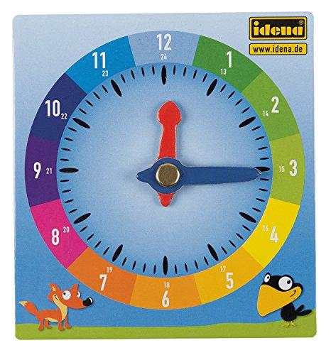 Idena 260049 – Lernuhr aus Pappe, im 24 h Format, mit beweglichen Minuten- und Stundenzeigern, ca. 10 x 10,5 cm, zum Erlernen der Uhrzeit