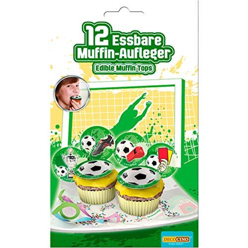 DECOCINO essbare Muffin-Aufleger Fußball (12 Stk.) – Fußball-Muffins, Fußball-Aufleger – essbare Fußball-Deko für Cupcakes – EM-Muffin, WM-Muffin