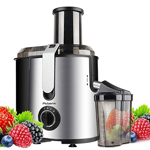 Entsafter Picberm 800W Zentrifugaler Entsafter Gemüse und Obst 2 Geschwindigkeiten BPA Frei mit 75mm Einfüllöffnun und Anti-Tropf-Funktion