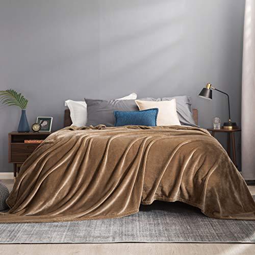 BEDSURE Decke Sofa Kuscheldecke Camel - große Fleecedecke für Couch weich und warm, Wohndecke flauschig 230x270 cm als Sofadecke Couchdecke