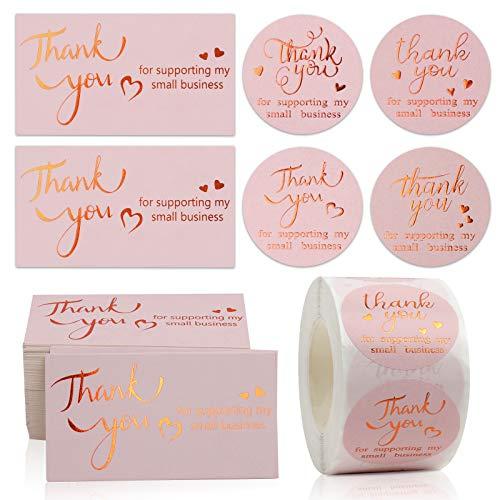 """Dankeskarten und Aufklebe, 100 Stück 5X9CM Goldfolie Thank You for Supporting My Small Business Karte 500 Stück 1.5"""" Danke Etiketten Stickers für E-commerce Online Retail Verpackung Inserts Dekoration"""
