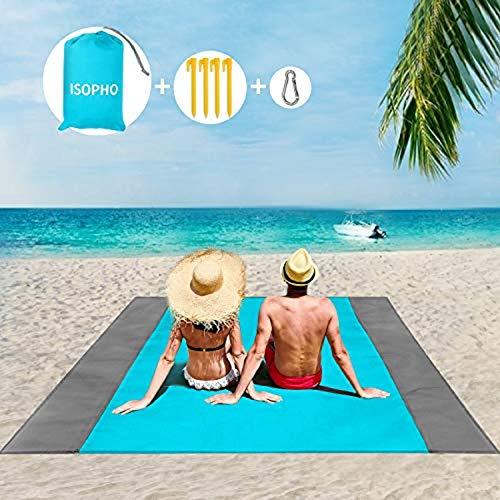 ISOPHO Picknickdecke 243 x 274 cm Stranddecke Wasserdicht, Strandmatte 4 Befestigung Ecken Stranddecke Sandfrei/Picknick für den Strand, Campen, Wandern und Ausflüge(Blau)