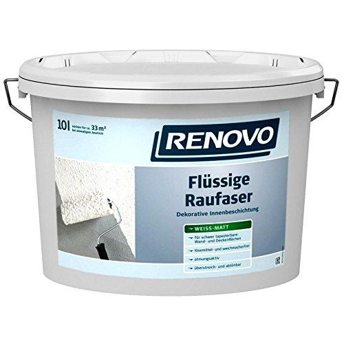 RENOVO Flüssige Rauhfaser 10 Liter Raufaser Strukturfarbe Rollrauhfaser