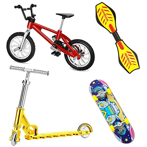 Mini Finger Toy Set, 4 Stück Finger Skateboards Finger Fahrrad Finger Roller Finger Vitality Board Training Requisiten Fingerspitzen Bewegung Spielzeug Spiele für Kinder