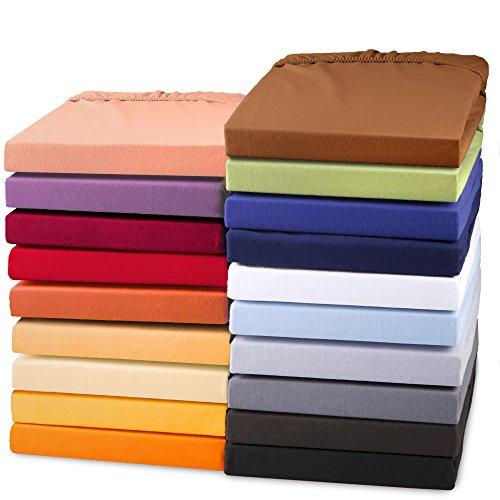 aqua-textil Exclusiv Spannbettlaken Doppelpack 90x200 - 100x220 cm Schnee weiß Jersey Baumwolle 230g/qm Spannbetttuch Elastan Laken