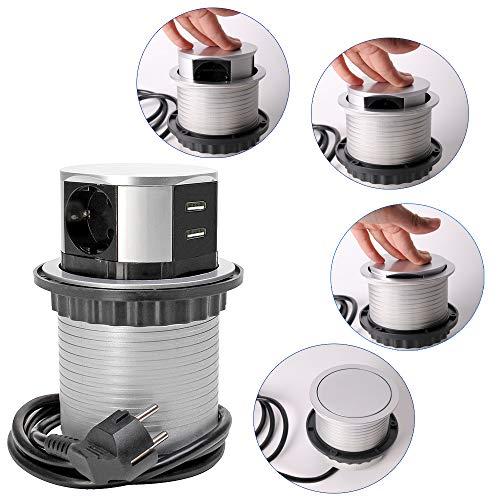 SHD – versenkbare Pop Up Steckdose für Tisch- sowie Arbeitsplatten – Einbau Steckdosenleiste mit 3 Steckdosen und 2 USB Anschlüssen – mit Kindersicherung und Überspannungsschutz