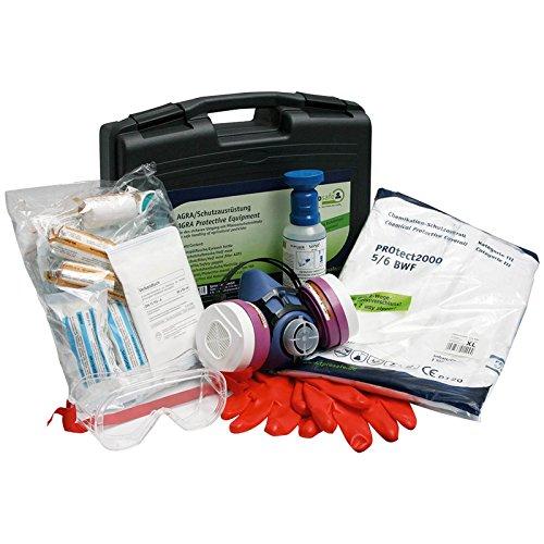 AGRAR-Schutzausrüstung - Augenspülung, Atemschutzhalbmaske, Kombifilter A2P3, Schutzbrille, Schutzhandschuhe Gr. 10, Schutzoverall XL, Erste Hilfe Material DIN 13157