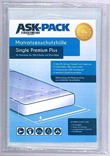 ASK Pack Premium Matratzenschutzhülle Single für bis zu 100cm breite / 25cm hohe / 220cm lange Matratze - mit vielfach wiederverwendbarem KLEBEVERSCHLUSS - EXTRA stark 100µ