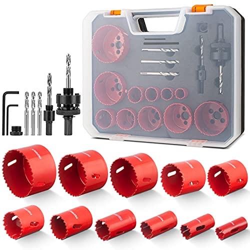 Lochsäge Bimetall, Meinraum 17 PCS Lochfräse Set mit 11 Sägeblättern 19mm-68mm, inklusiv 2 Schafte, 3 Bohrer, 1 Sechskantschlüssel, für Aluminium, Holz, PVC-Platte und Kunststoffplatte