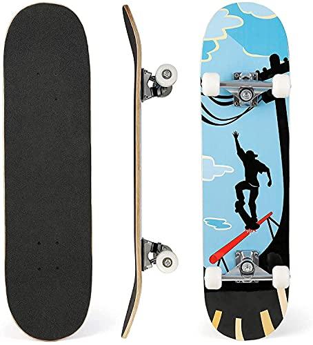 Skateboard Erwachsene 31 x 8 Zoll Komplettboard mit Doppelklick, Skateboard für Anfänger mit ABEC-9 Kugellager und 85A PU Räder, Kinder Skateboard aus 7-Lagiger Kanadischer Ahorn, Bis 100 kg Belastbar