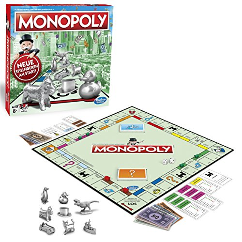 Hasbro Gaming C1009100 Monopoly Classic, Gesellschaftsspiel für Erwachsene & Kinder, Familienspiel, der Klassiker der Brettspiele, Gemeinschaftsspiel für 2 - 6 Personen, ab 8 Jahren