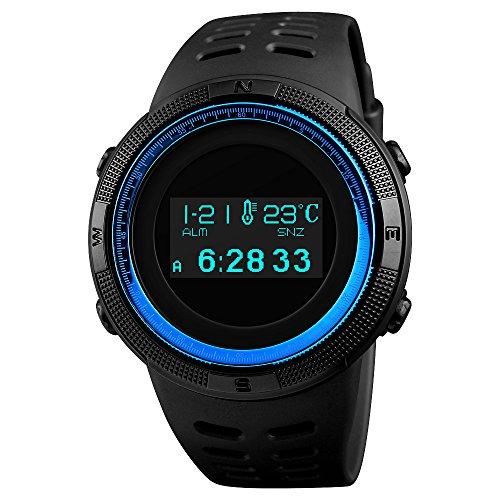 SKMEI Herren Digitale Sportuhr OLED Display Military Outdoor Survival Wasserdicht Armbanduhr mit Dual Zeitzone Kompass Schrittzähler Thermometer Stoppuhr